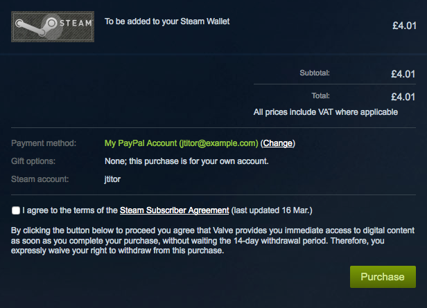 Screenshot showing the process of adding funds to a Steam Wallet